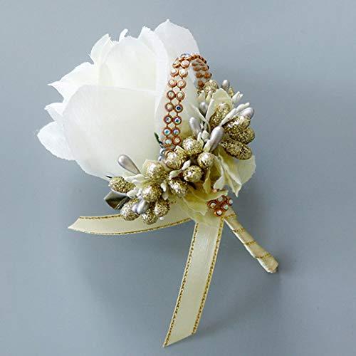 ECMQS 1 Stück Hochzeit Seide Blumen Boutonniere Braut Corsage Ansteckblume Bräutigam Boutonniere Brosche Pin (Pins Party Bridal)