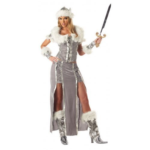 Wikinger Vixen historisch büchertag Halloween historisch Kostüm Kleid Outfit - grau, 8-10 (Vixen Kostüm)