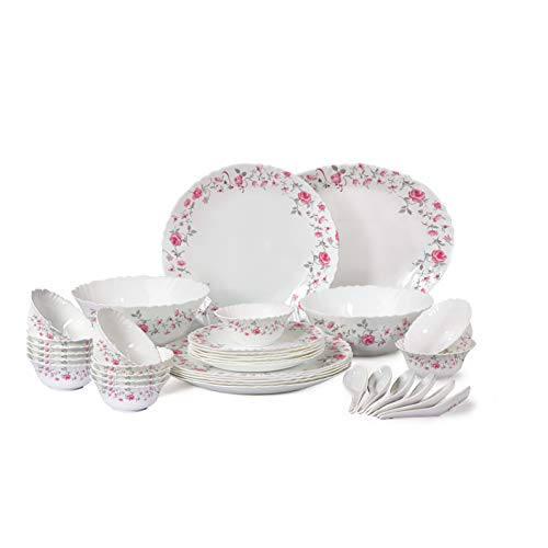 Cello Imperial Red Rose Fantasy Opalware Dinner Set, 33 Pieces, White