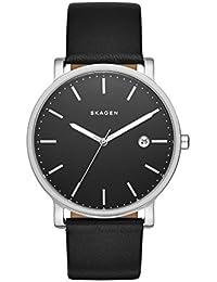 Skagen SKW6294 - Reloj de cuarzo con correa de cuero para hombre, color negro