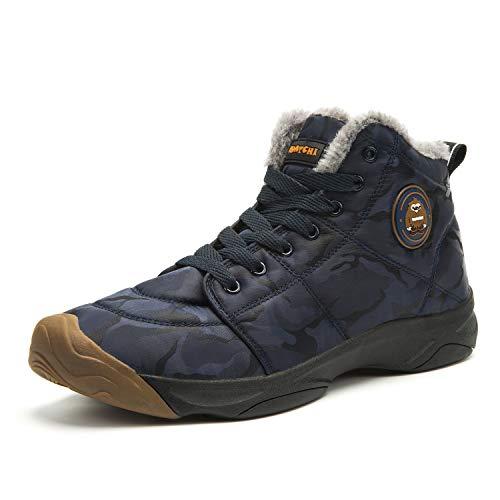 Uomo Stivali da Neve Invernali Outdoor Caldo Scarpe Piatto Allineato Pelliccia Caloroso Caviglia Piatto Stivaletti Sportive Boots