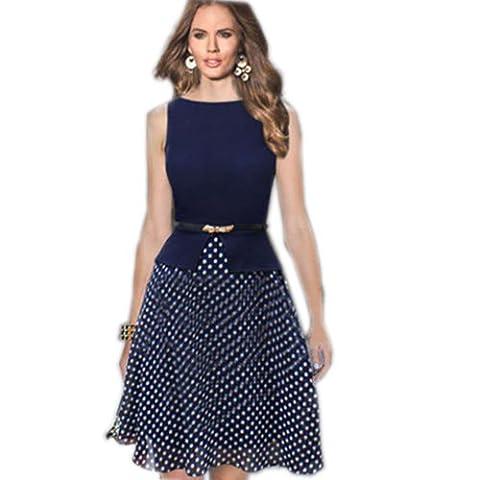 Dabag -Femmes hit-couleur en mousseline de L'impression points mince taille Bureau jupe sans manches grande Swing robe (M,