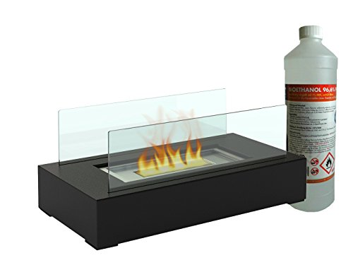 Table Decoration Table/Glass Fireplace + 1L Bio Ethanol Fireplace for a cosy atmosphere