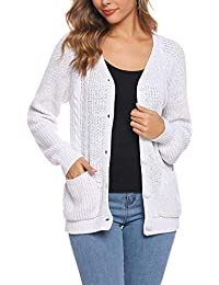 iClosam Jersey Invierno Cardigan Mujer Elegante Rebeca V CáRdigan SuéTer Pullover Sweaters (Blanco, XL)