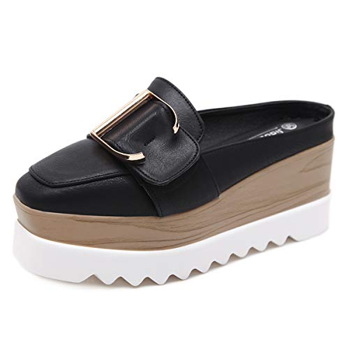 White Patent Slingback (YAN Frauen Sandalen Fashion Lady Lazy Schuhe Slingback Schuhe, Patent Leder Flat mit Half-Schlipper-Plattform Schuhe White Black,Black,39)