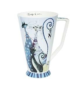 Mug tasse à café avec anse en forme de chat en porcelaine avec queue orange