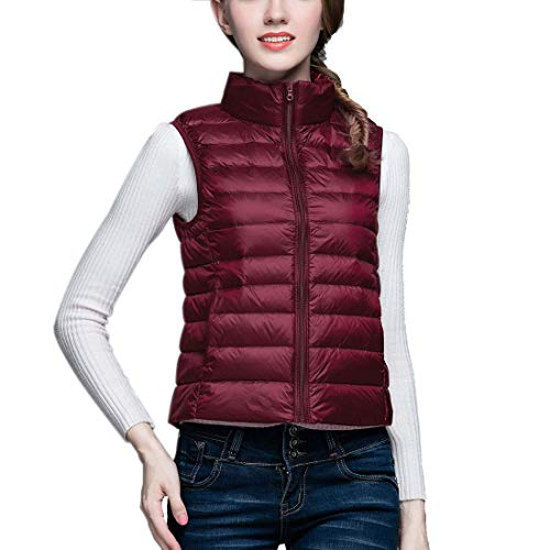 Frauen Down Puffer Jacke Mantel Packable Ultralight Weste Ohne Arm Gilets Body Warmers (Packable-frauen Puffer-jacke)