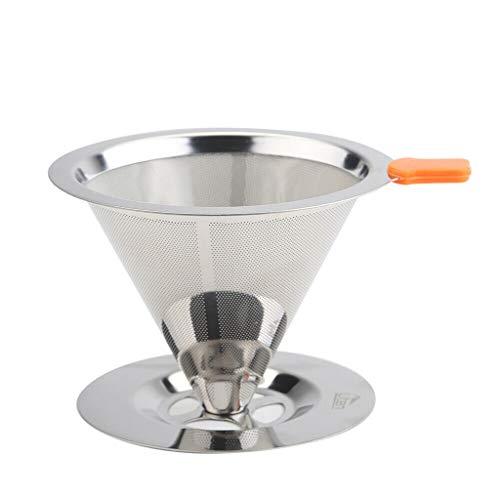 Yue668 Edelstahl Handwaschbar Gießen über Kegel Tropfer Wiederverwendbare Kaffeefilter mit Tassen Ständer -