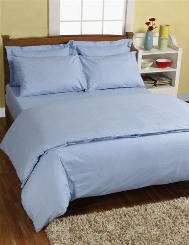 Homescapes Drap Housse Uni couleur Bleu pour 1-2 Personnes de 120 x 190 cm - Percale - 100% Coton d'Égypte200 Fils (80 fils/cm² ) - Anti acariens