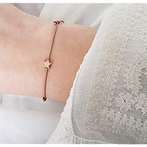 SCHOSCHON Damen Armband Stern 925 Silber in Taupe-Rosegold dünn verstellbar // Weihnachtsgeschenk Frauen Armbändchen Sternchen Textil Schmuck