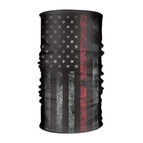 VTXWL USA America Thin Red Line Flag Quick Dry Microfiber Headwear Outdoor Magic Bandana As Neck Gaiter Head Wrap Headband Scarf Face Mask Ultra Soft Elastic One Size America Red Riding Hood