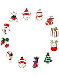Finrezio 12 Piezas Broche de Vacaciones Broche Aguja Mujeres Niñas Encantador Arbol de Navidad Los Zapatos Muñeco de Nieve Broche