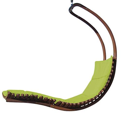 AS-S Design Chaise longoue Suspendu NAVASSA-Seat-Vert en mélèze de Bois/métal avec Coussin (sans Support) de