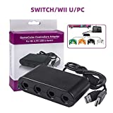 TechKen Gamecube Controller Adapter zu Wii Switch PC 4 Ports,Gamecube Zubehör NGC Controller Adapter Konverter für Switch Wii U PC USB Super Smas Bros Adapter mit 4 Slots