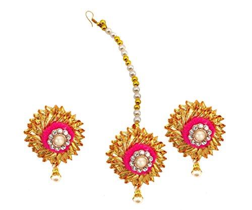 BLENT#63 Pink Gota Patti Flower Jewellery Earrings and Mangtikka for Women/Kids/Girls/Bride/Bridal/Wedding/Haldi/Mehandi (Handmade...