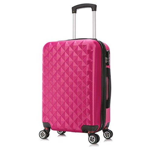EUGAD Reisekoffer Harschalenkoffer 4 Rollen mit erweiterbaren Volumen Reise Koffer Trolley Hartschale Zwillingsrollen Handgepäck groß M L XL Set , Pink (L 65 cm & 70 Liter) , RK4216pk-L