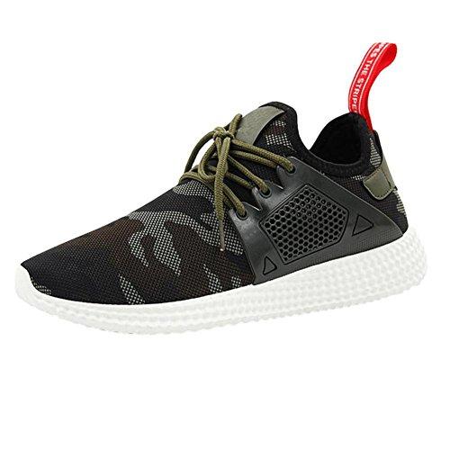 Btruely Herren Turnschuhe Camouflage Sportschuhe Männer Sneakers Freizeitschuhe Bequeme Trainers Schnürer Laufschuhe Mode Schuhe Junge (44, Grün)