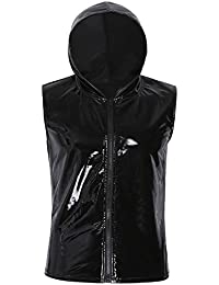 iiniim Homme Garçon Cool Haut Thermique Sweats à Capuche sans Manches en  Cuir Brillant Zip Hoodie 62af09ca5bf9