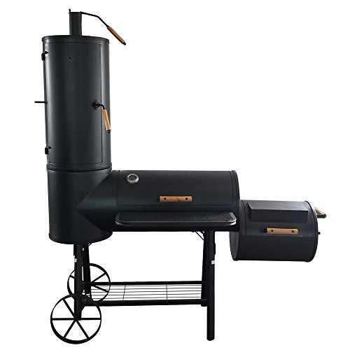 Jalano BBQ Smoker Schwarz Profi Holzkohlegrill massiv Temperaturanzeige