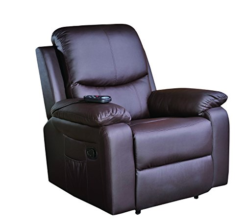 ECO-DE Sillón Masaje Relax con Calor Lumbar, 8 vibromotores, reclinable de Color marrón ECO-8600