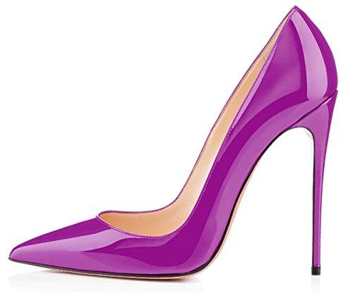 EDEFS Damen Lack Pumps Stilettos High Heels Abend Schuhe mit 12CM Violett Größe EU41 -