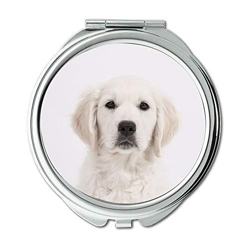 Yanteng Spiegel, Compact Spiegel, Hund Golden Retriever Welpe reinrassiger Hund Cute Pet01, Taschenspiegel, tragbarer Spiegel
