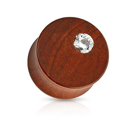 Coolbodyart angle plug organique bois brun acajou-clear 6 mm - 16 mm