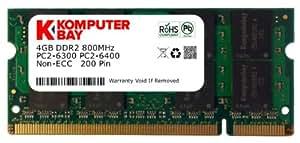 Komputerbay 4 Go DDR2 800 MHz PC2-6300 PC2-6400 DDR2 800 (200 PIN) Mémoire SODIMM pour ordinateur portable