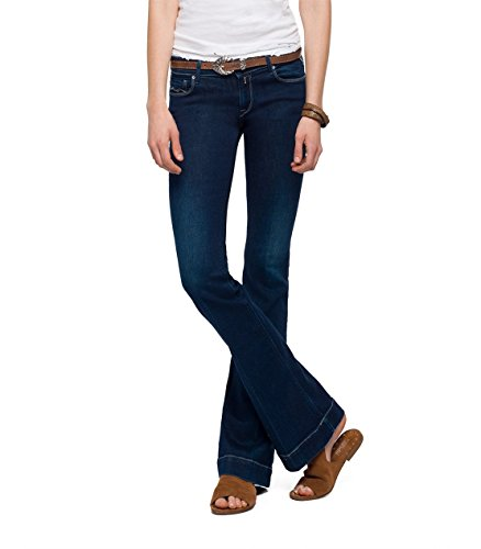Replay Damen Flared Jeans Teena, Blau (Dark Blue 7), W28/L30 (Blue Flare Denim)