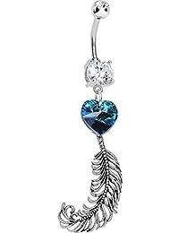 Body Candy Acero Inoxidable Handcrafted Corazón Azul y plumas Piercing Para Ombligo