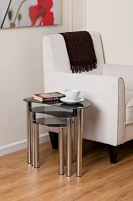 Black Chrome Plated Nest Of 3 Coffee Table Set Free Postage Uk Mainland Only