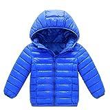 CHIYEEE Ragazzi Ragazze Piumino Inverno Giacche di Piuma Cappotto con Cappuccio Bambino Leggero Giubbotti Blu Reale