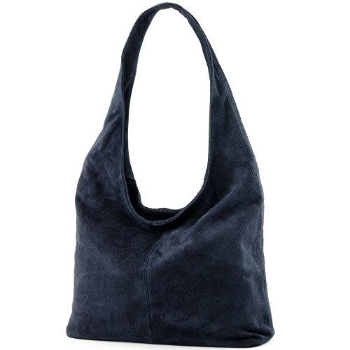 Modamoda de - ital Sac à bandoulière en cuir Sac à bandoulière Damentasche Wildleder T150, Color:Dark blue