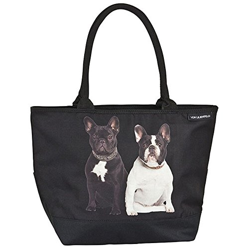VON LILIENFELD® Borsa Shopping Donna Tracolla Saccoccia Motivo Cane Bulldog francesi