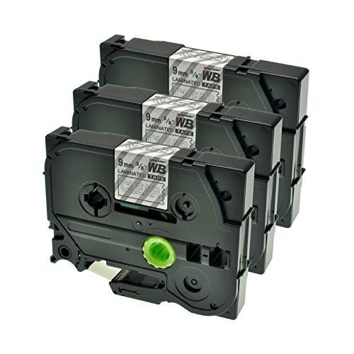 Logic-Seek 3 Schriftbänder kompatibel für Brother TZE-125 9mm/8m - Weiss auf Transparent