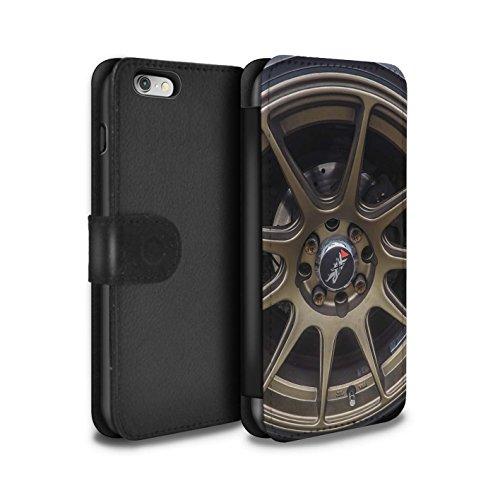 Stuff4 Coque/Etui/Housse Cuir PU Case/Cover pour Apple iPhone 5/5S / Noir/Orange Design / Jantes Alliage Collection Or/Bronze