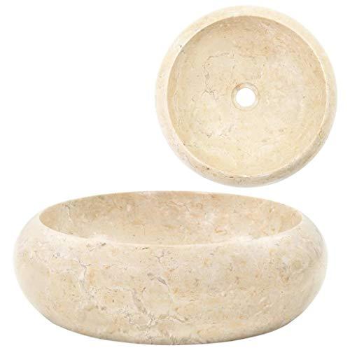 Festnight Bad-Waschbecken | Marmor Waschschale | Rund Badezimmer Handwaschbecken | Marmorwaschbecken | Creme Marmor 40 x 12 cm