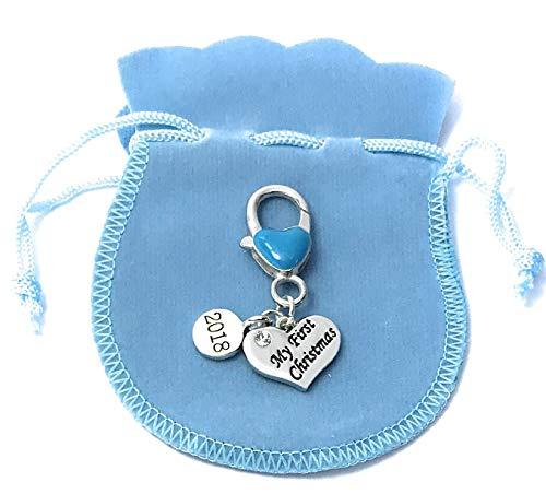 Bébé Garçon de bébé Premier Noël 2017 souvenir Charms Porte-clés avec sac cadeau en velours Bleu pour bébé à la main par Libby de place de marché ~ à partir de vendeur britannique
