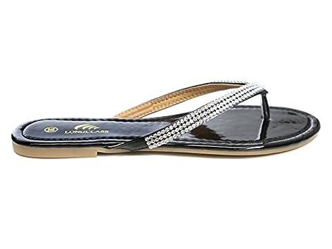 LONGCLASS schöne Flip Flops Damen schwarz EXCELLENCE elegante Sandalen schwarz Damen mit Strass Steinen sehr aufwendig verarbeitete Sandaletten Damen schwarz mit kleinem Absatz Größe 40 41