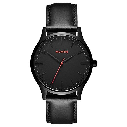 MVMT 40Series Armbanduhr, 40mm, schwarz/schwarzes Leder