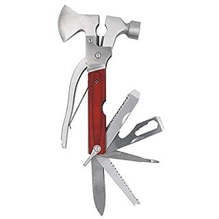 TOOHUI 16 in 1 Multi Tool Hammer Axt, Edelstahl Multifunktionswerkzeug Axt für Garten Camping/Notfallhammer/Fensterbrecher/Survival Messer/Notfallhammer/Gurtschneider/Schraubendreher/Flaschenöffner.