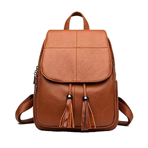 Damen Echtes Leder Rucksack Geldbörse Damen Casual Schultertasche Schultasche für Mädchen (Gelb)
