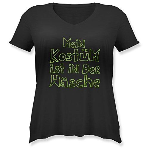 Karneval & Fasching - Mein Kostüm ist in der Wäsche - XL (50/52) - Schwarz - JHK603 - Weit geschnittenes Damen Shirt in großen Größen mit ()