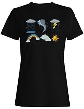 Tiempo, iconos, diferente, clima camiseta de las mujeres g697f