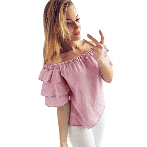 ❤️Manadlian Chemisier Blouse Femme Ete 2018,Femme Été T-Shirt Épaules Nues Élégant Blouse Chemise Tops Haut avec 3/4 Manches