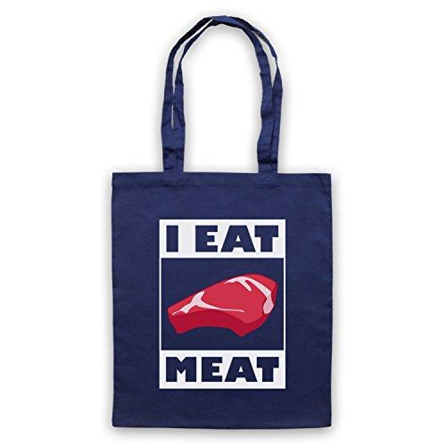 I Eat Meat Funny BBQ Slogan Umhangetaschen Ultramarinblau