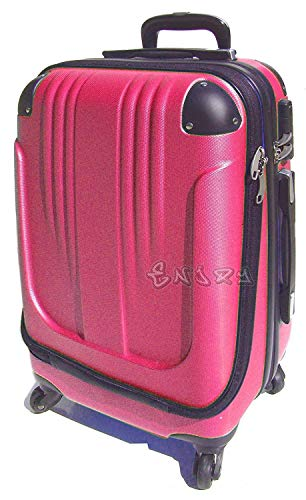 Bagaglio a mano trolley voli low cost in abs rigido 4 ruote + asta estensibile -loco by crazy shoes (Fuxia)