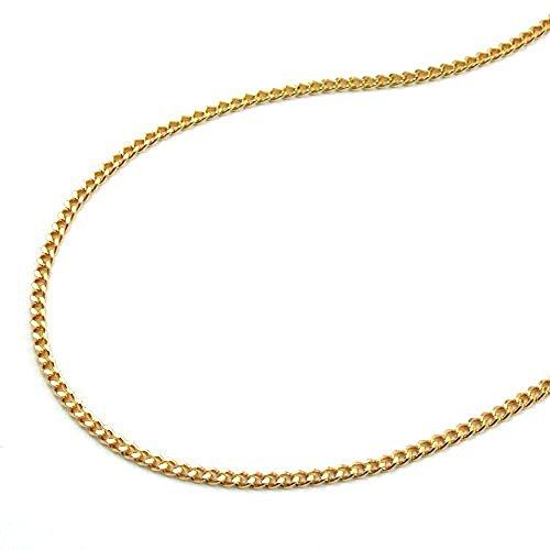 Halskette Kette Panzerkette Collier Damen vergoldet 2x diamantiert Länge 38 cm Breite 1.2 mm