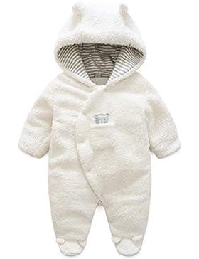 SANMIO Unisex Baby Schneeanzüge mit Kapuze Winter Fleece Overall Mädchen Jungen Warm Strampler Jumpsuit