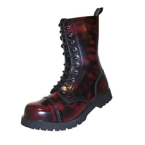 Boots & Braces Bottes rangers avec lacets 10 œillets Rouge bordeaux Burgundy Rub-Off